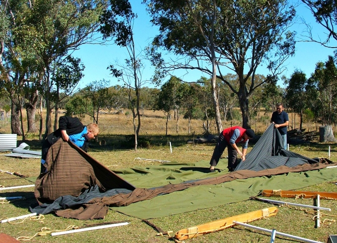 laying out a Bedouin tent
